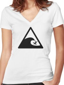Wave sign - Accident Women's Fitted V-Neck T-Shirt