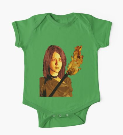 Bust of Girl with Fire Stick One Piece - Short Sleeve