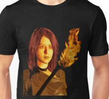Bust of Girl with Fire Stick Unisex T-Shirt