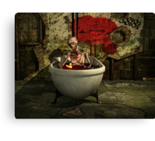 Bath Time For Zombie Canvas Print