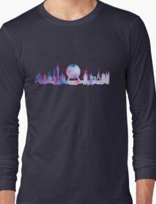Orlando Future Theme Park Inspired Skyline Silhouette Long Sleeve T-Shirt