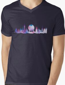 Orlando Future Theme Park Inspired Skyline Silhouette Mens V-Neck T-Shirt