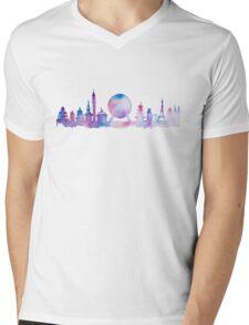 Orlando Future Theme Park Inspired Skyline Silhouette Mens V-Neck T-Shirt