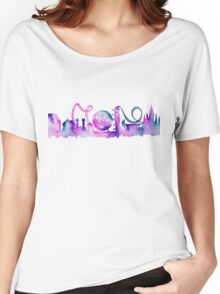 Orlando Theme Park Inspired Watercolor Skyline Silhouette Women's Relaxed Fit T-Shirt