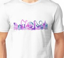 Orlando Theme Park Inspired Watercolor Skyline Silhouette Unisex T-Shirt