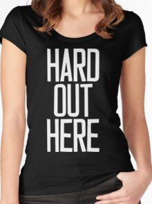 Hard Out Here [For A PIMP] White Ink Women's Fitted Scoop T-Shirt