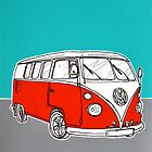 VW Camper Van ( Red )  by Adam Regester