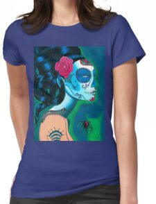 Sugar Skull Blue Womens Fitted T-Shirt