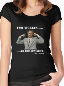 "Anchorman - Ron Bergundy ""Gun Show"" Women's Fitted Scoop T-Shirt"