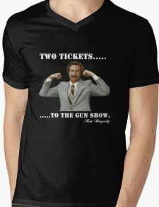 "Anchorman - Ron Bergundy ""Gun Show"" Mens V-Neck T-Shirt"