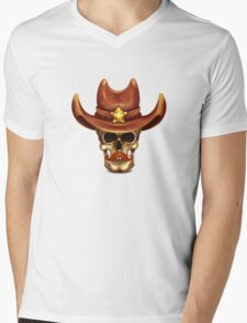 Skull In Cowboy Hat Mens V-Neck T-Shirt