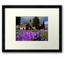Flowers with church Framed Print