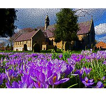 Flowers with church Photographic Print