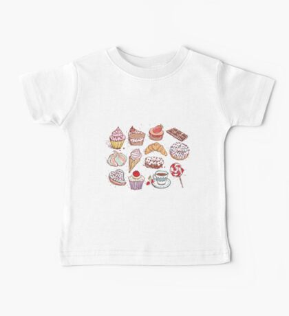 Hand drawn confectionery seamless pattern croissant Cupcake candy marshmallow ice cream cake donut and coffee Baby Tee