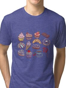 Hand drawn confectionery seamless pattern croissant Cupcake candy marshmallow ice cream cake donut and coffee Tri-blend T-Shirt