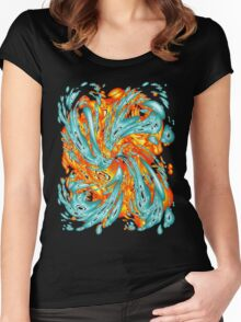 Splash Attack: Aqua and Fire Women's Fitted Scoop T-Shirt