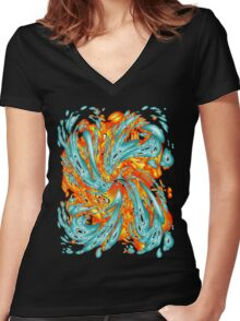 Splash Attack: Aqua and Fire Women's Fitted V-Neck T-Shirt