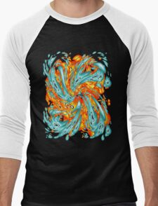 Splash Attack: Aqua and Fire Men's Baseball ¾ T-Shirt