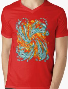 Splash Attack: Aqua and Fire Mens V-Neck T-Shirt