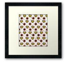Heart And Flowers Pattern White Framed Print