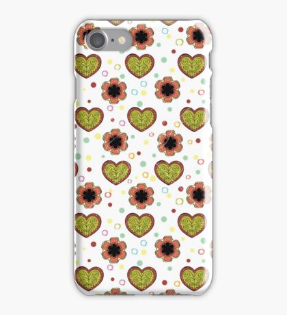 Heart And Flowers Pattern White iPhone Case/Skin