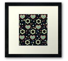 Heart And Flowers Pattern Framed Print