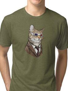 10th Doctor Mew 3D Glasses Tri-blend T-Shirt