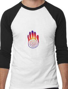 Spiral Healing Hand - Large Red/Orange/Blue Men's Baseball ¾ T-Shirt