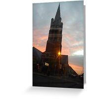 sunset in town center  Greeting Card