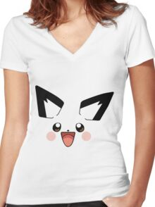 Pichu Face Women's Fitted V-Neck T-Shirt