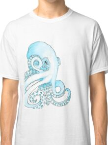 Blue Pen and Watercolor Octopus Classic T-Shirt