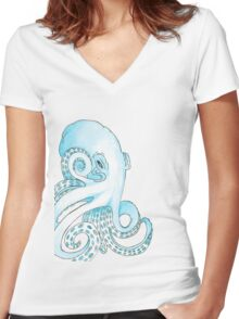 Blue Pen and Watercolor Octopus Women's Fitted V-Neck T-Shirt