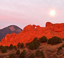 Moonset at Garden of the Gods by RondaKimbrow