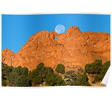 Moonset on the Kissing Camels Poster