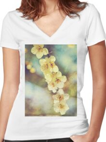 Lovely White Plum Blossoms Vintage Washi Paper Women's Fitted V-Neck T-Shirt