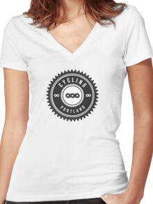 Cycling Portland Black & White Women's Fitted V-Neck T-Shirt