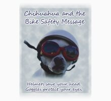 Chihuahua and the Bike Safety Message Sticker (Version 2) by Corri Gryting Gutzman