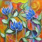 Arabesque - three lotus flowers by Almeta
