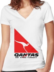 Qantas The Dying Kangaroo Women's Fitted V-Neck T-Shirt
