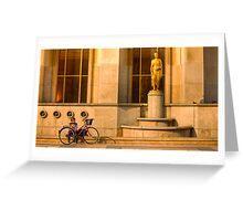 A cyclist near the Eiffel Tower in Paris, phones a friend Greeting Card