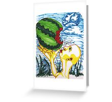 Woman Spitting Watermelon Seeds Greeting Card