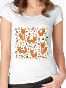 pattern with red squirrel Women's Fitted Scoop T-Shirt