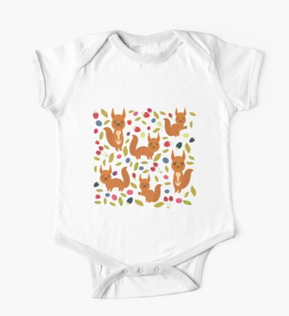 pattern with red squirrel One Piece - Short Sleeve