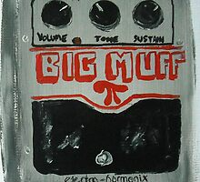 Nirvana Grunge Guitar Pedal Big Muff Fine Art Print Of Acrylic Painting by JamesPeart