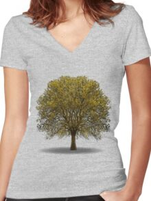 tree isolated over white Women's Fitted V-Neck T-Shirt