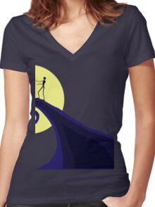 Tim Burton's Nightmare Before Christmas Women's Fitted V-Neck T-Shirt