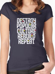 Destroy Popular Culture. Rebuild, Repeat  Women's Fitted Scoop T-Shirt