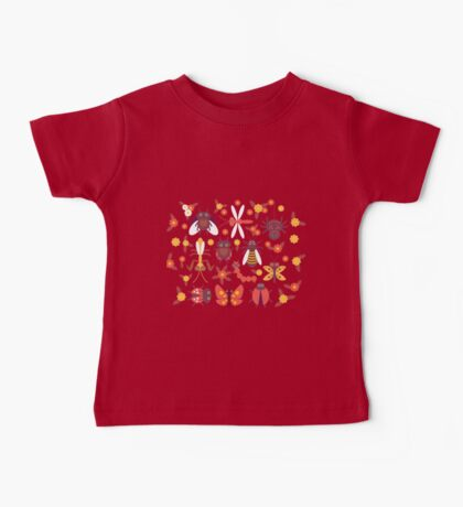 Funny insects Spider butterfly caterpillar dragonfly mantis beetle wasp ladybugs  Baby Tee