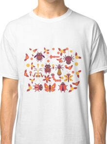 Funny insects Spider butterfly caterpillar dragonfly mantis beetle wasp ladybugs  Classic T-Shirt