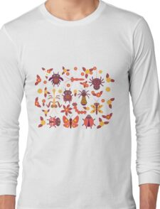 Funny insects Spider butterfly caterpillar dragonfly mantis beetle wasp ladybugs  Long Sleeve T-Shirt
